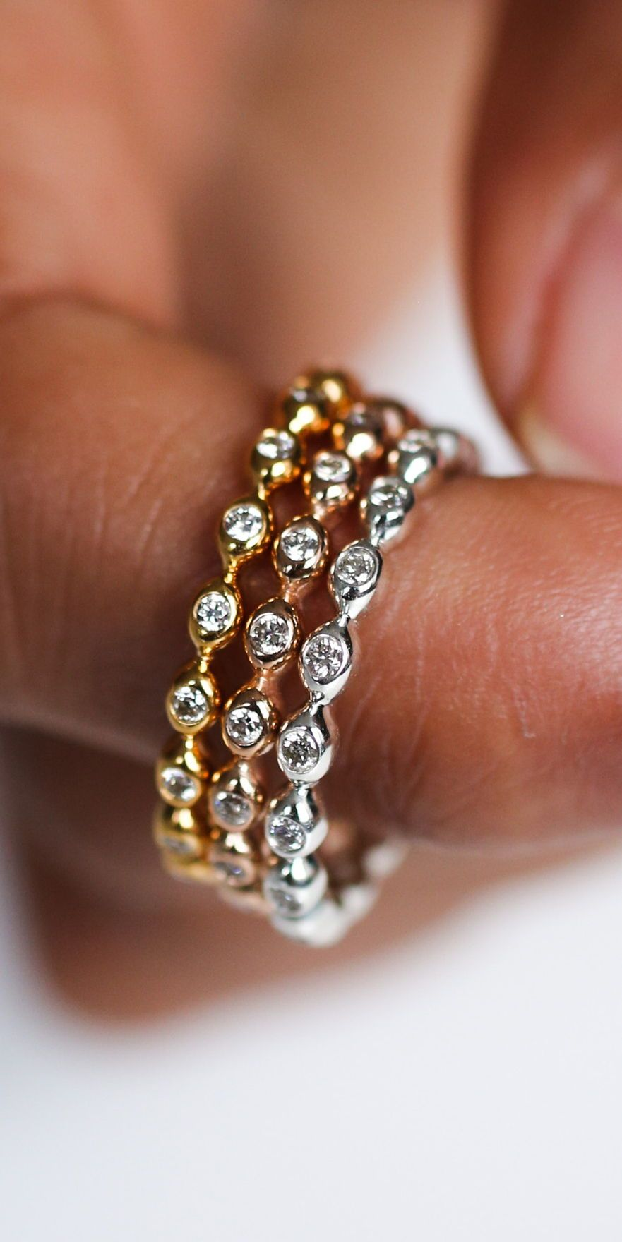 The Halo Drop Ring Diamonds studded in molten drops of