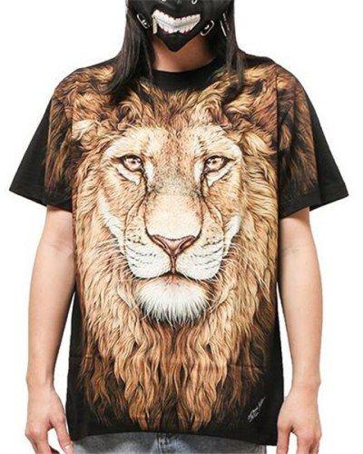 68fb04fbd0ab Big face lion t shirt 3D animal face t shirt for men hip hop clothing