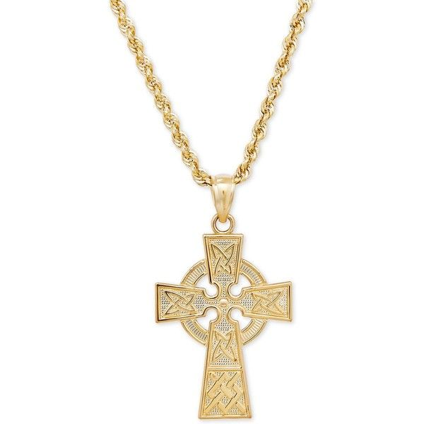 Celtic Cross Pendant Necklace in 14k Gold 1050 liked on