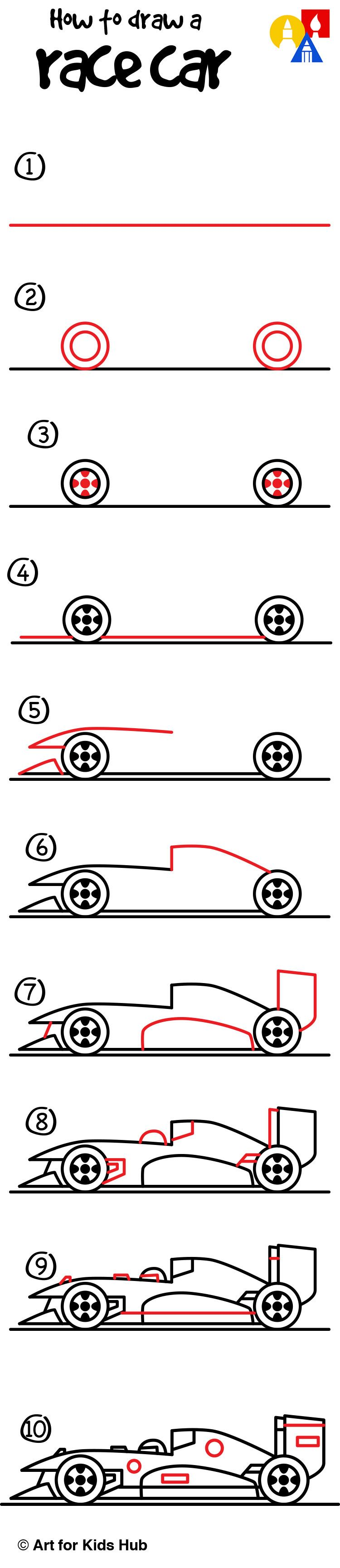 How To Draw A Race Car Art For Kids Hub Cars Drawings And