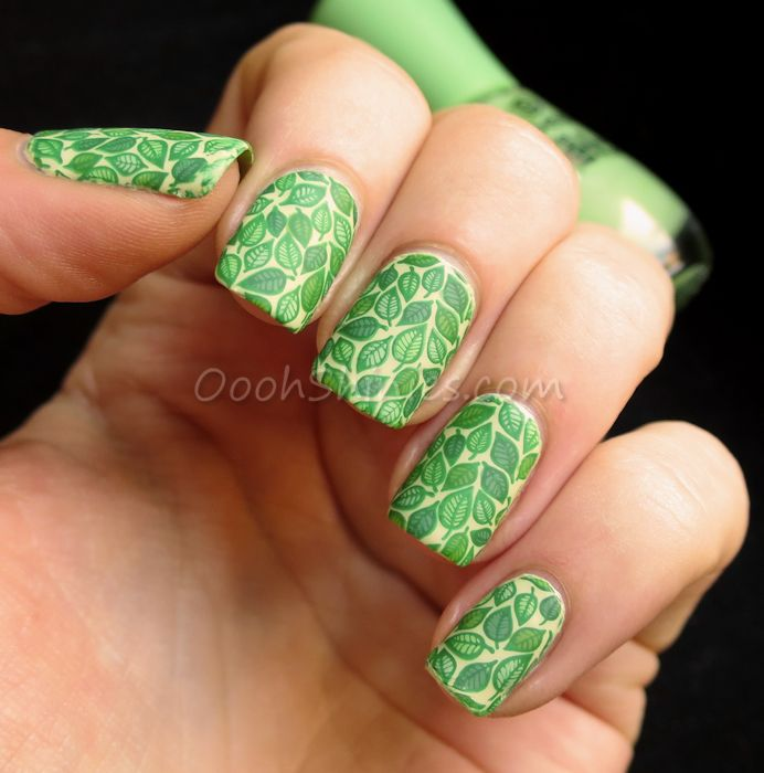 Essence Exits On Your Right with Konad Green, Essence Brazil Jungle, Catrice Run Forest Run!, China Glaze Gaga For Green and W.I.C. By Herôme Malmö, UberChic Beauty plate UC Fairytale-01 and Dance Legend Top Satin