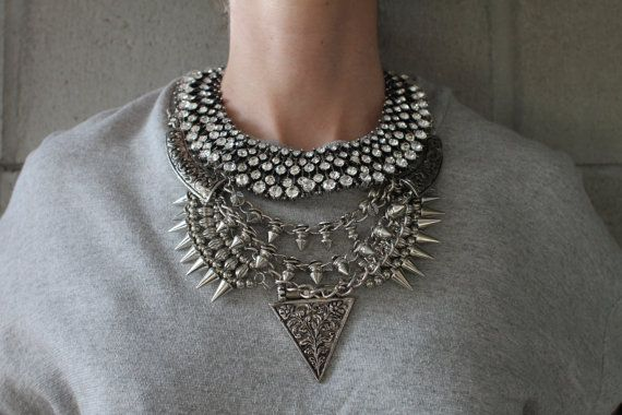 Handcrafted Statement Necklace: Silver crystal by Lacersuite