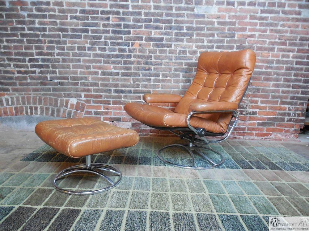 Vintage Ekornes Leather Lounge Chair U0026 Ottoman