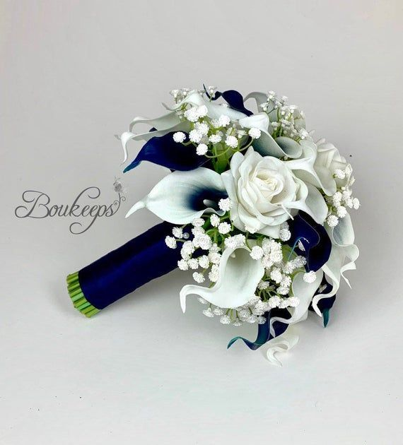 CHOOSE RIBBON COLOR  Navy Blue and White Calla Lily and Rose | Etsy