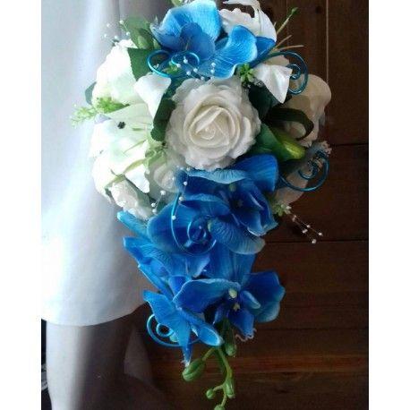 bouquet de mariage tombant roses orchid es blanc turquoise id es bouquet de mari e. Black Bedroom Furniture Sets. Home Design Ideas