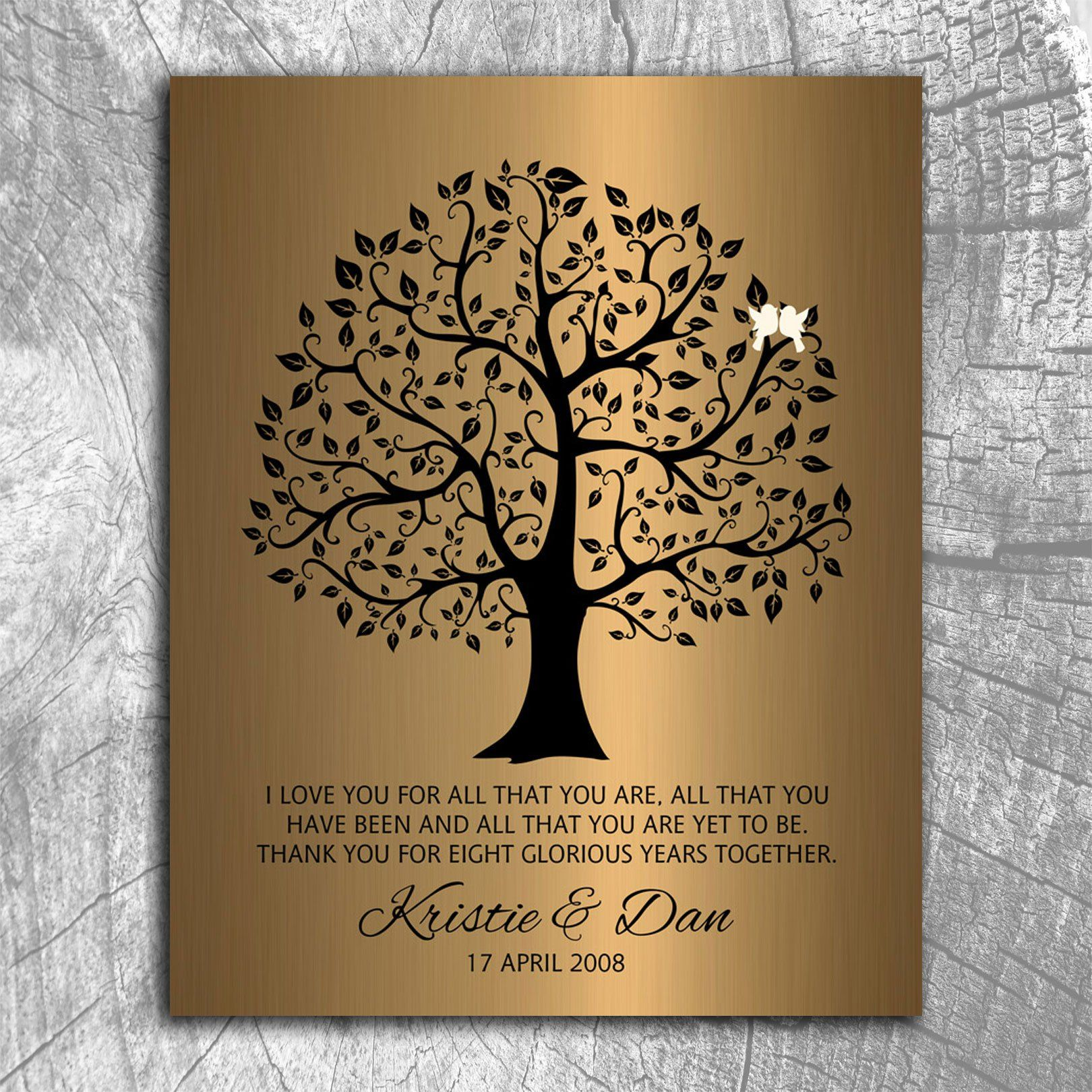 8 Year Anniversary Personalized Wedding Tree Gift Faux Bronze Onyx For Custom Art Print On Paper Canvas Metal
