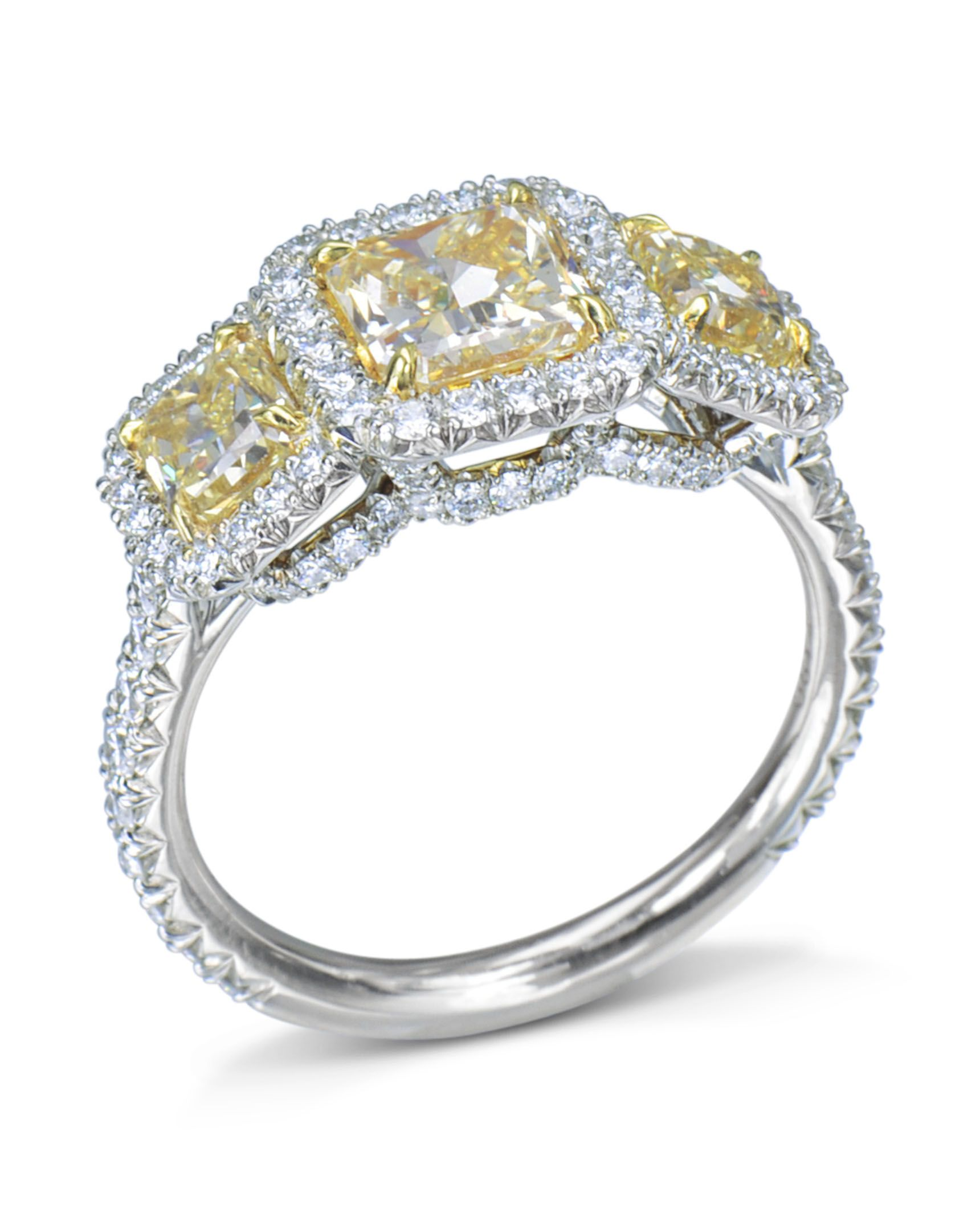 Certified 4ct Oval Cut Yellow Diamond Double Halo Engagement Ring 14K White Gold