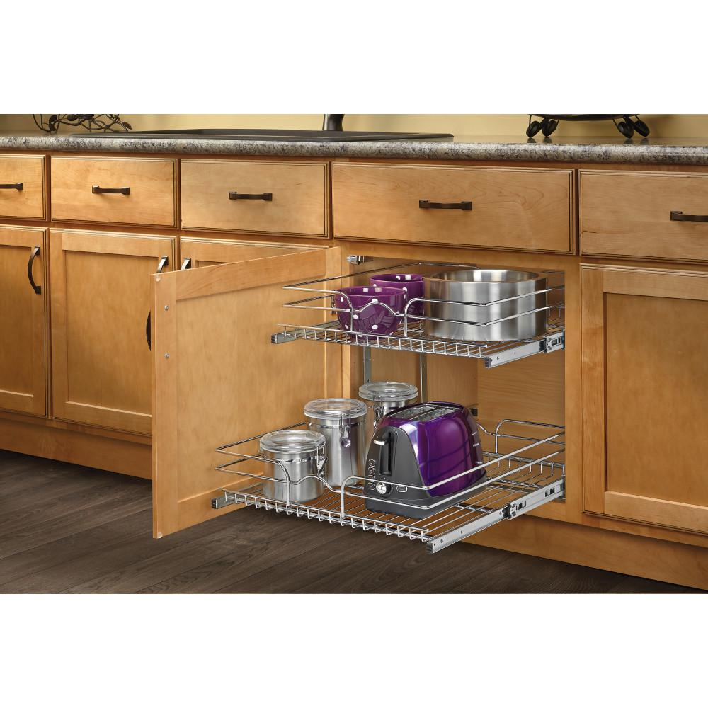 Rev A Shelf 19 In H X 20 75 In W X 22 In D Base Cabinet Pull Out Chrome 2 Tier Wire Basket 5wb2 2122 Cr The Home Depot Kitchen Cabinet Shelves Kitchen Pull Out Drawers Kitchen