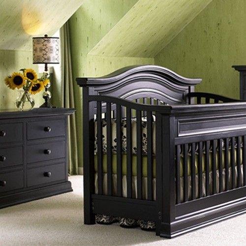 Bonavita Sheffield 2 Piece Nursery Set In Distressed Black Crib And Double Dresser Furniture Brands Baby