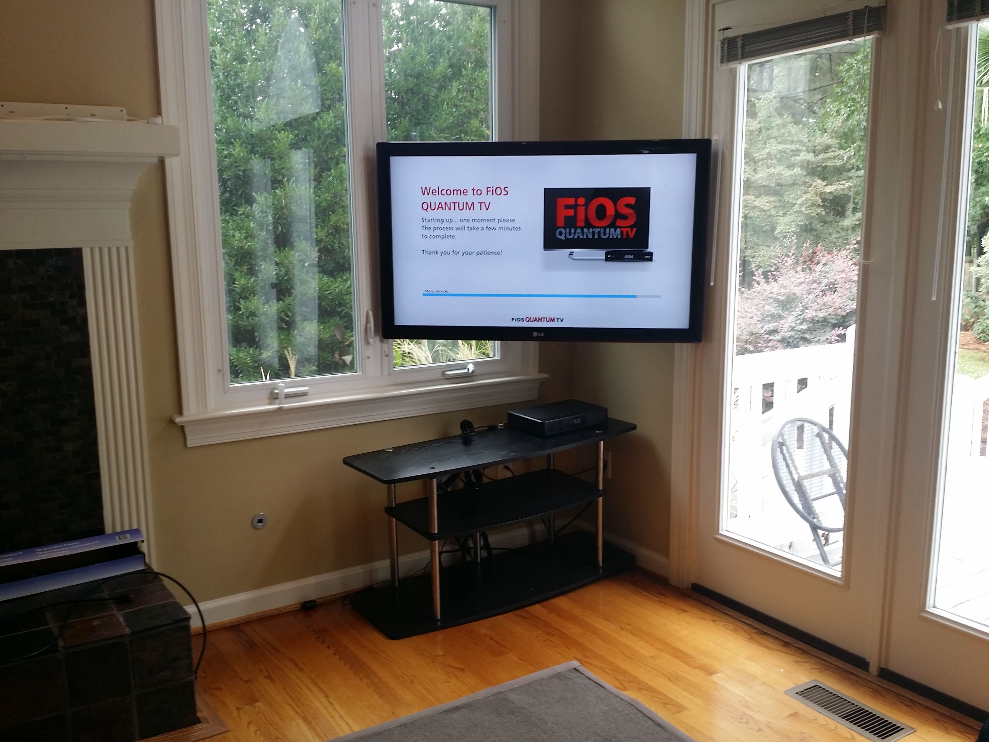 Wall Mounted Tv Setup Ideas Have And Awkward Setup And Need Your Tv Mounted In The