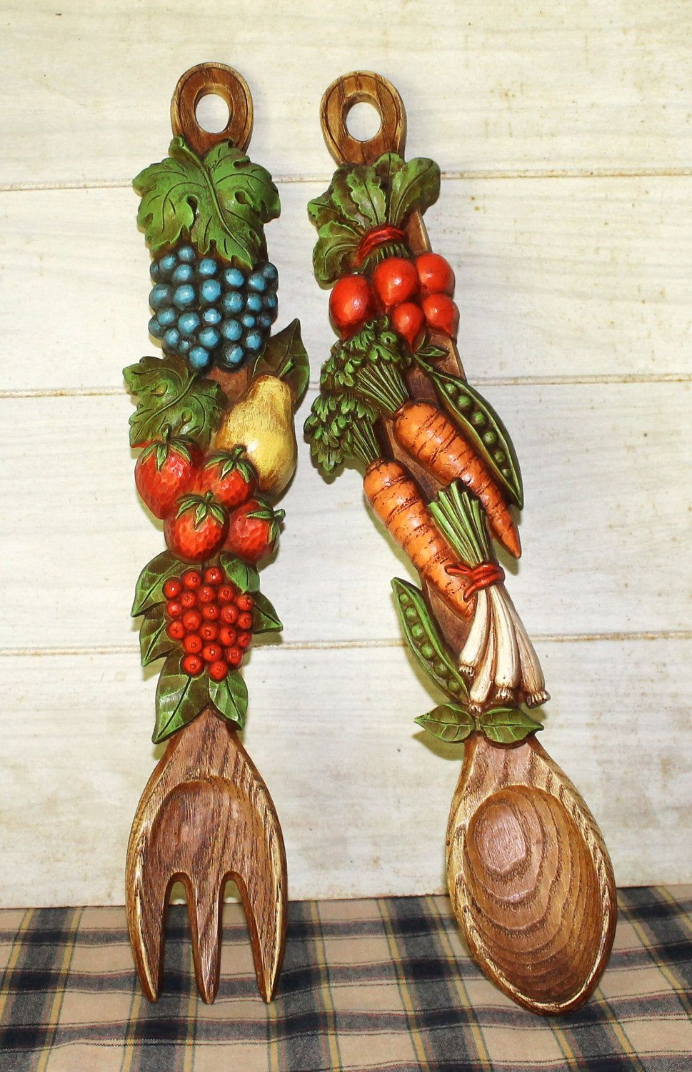 Funky Retro Vintage Kitchen Decor Fruit Vegetable Spoon Wall Hanging Kitsch Home
