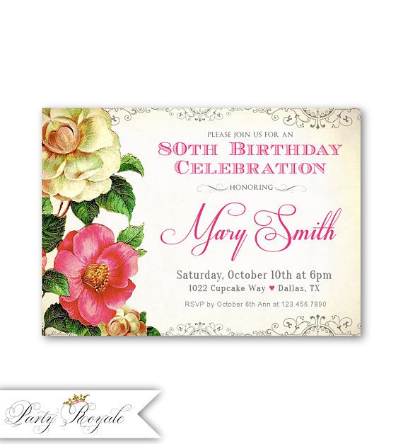 Vintage 80th Birthday Invitations Womens Birthday Invites