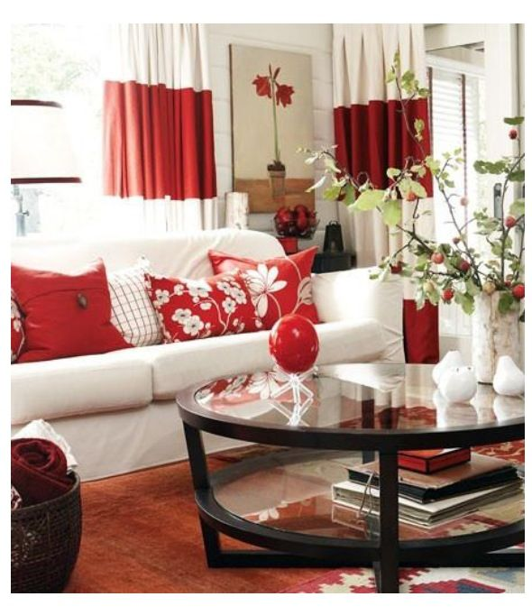 Designing with pinterest bright red red pinterest living room red rooms and living for Red and cream curtains for living room