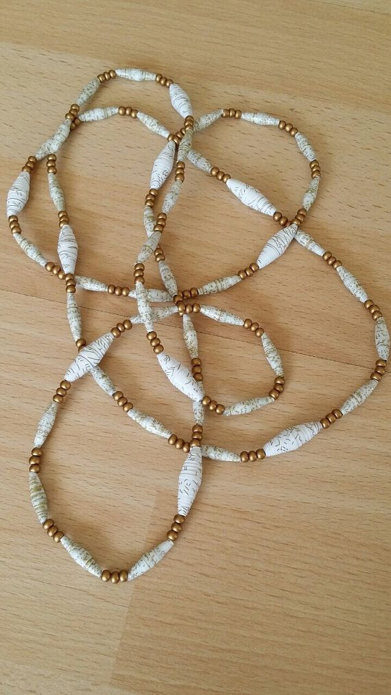 Multifunctional paper bead necklace by MagdaCrafts on Etsy, £22.00