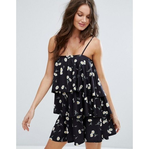 ASOS Tiered Strappy Sundress in Daisy Print (290 HKD) ❤ liked on Polyvore featuring dresses, black, tiered sundress, sun dresses, tall dresses, daisy sundress and strappy dress