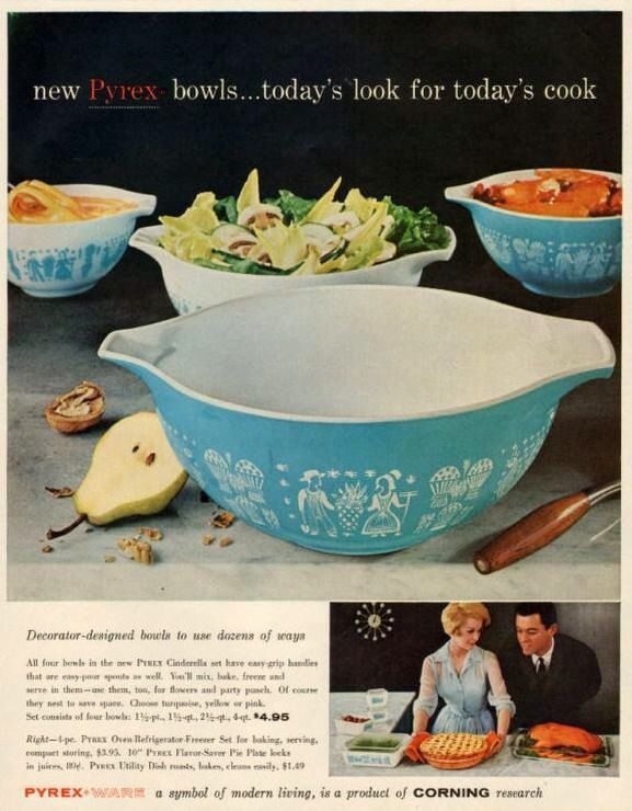 Pyrex Butter print Mixing bowl Vintage 473 1 Qt cookware kitchenware  lid
