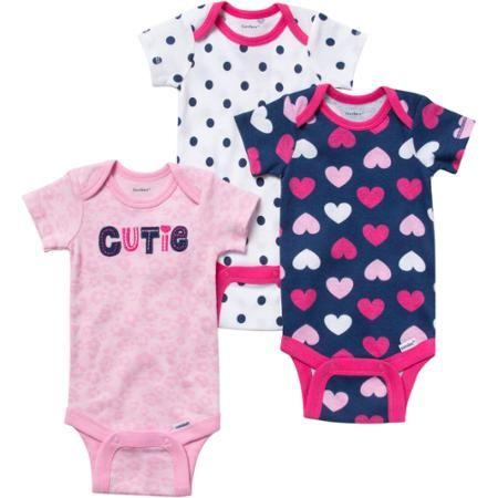 4aa4150e3a04 Gerber Onesies Brand Baby Girl Bodysuits Variety 3 Pack - Walmart ...