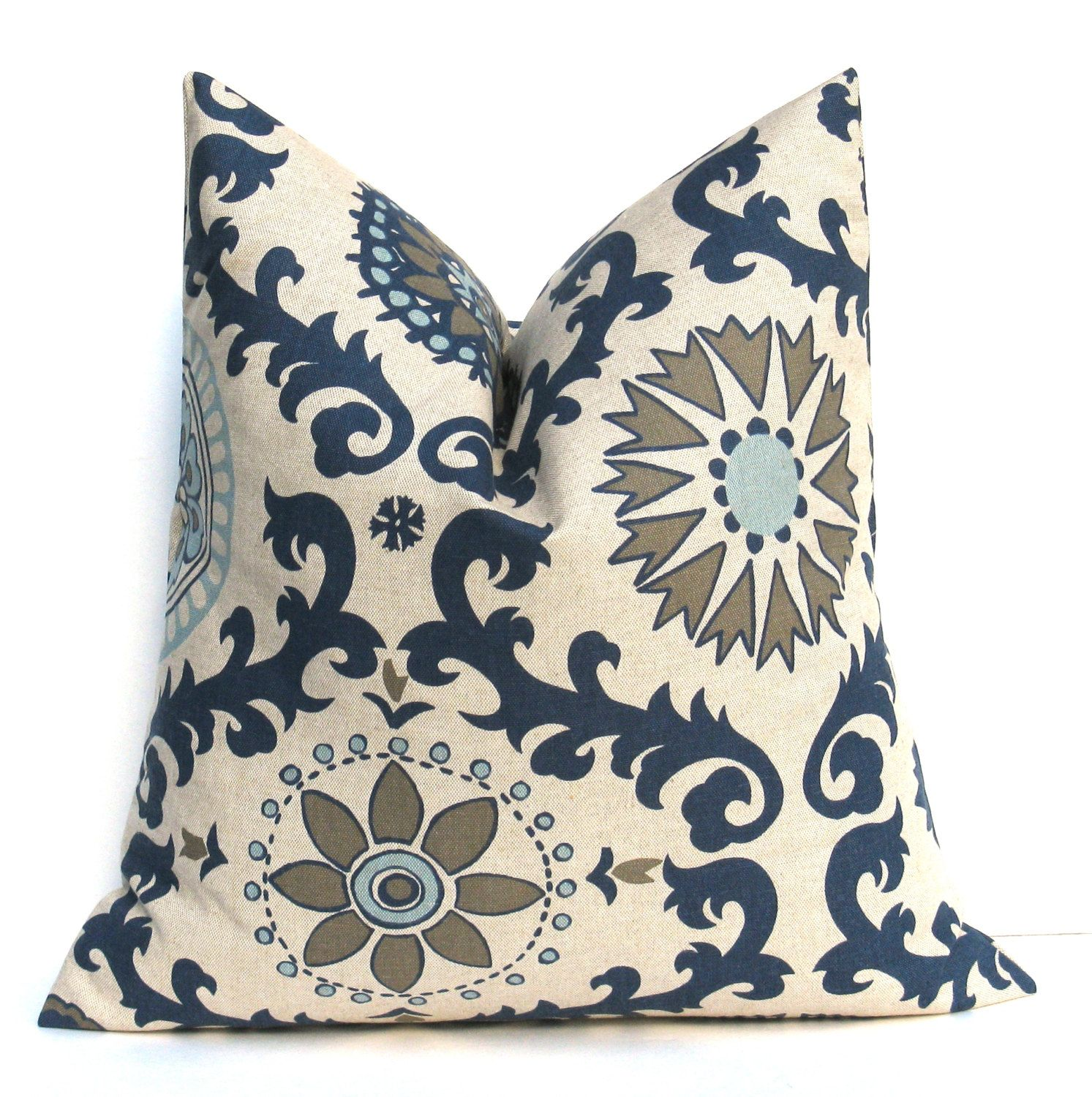 blue and gray throw pillows