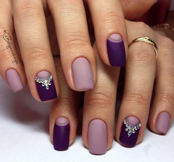 Beautiful evening nails, Evening dress nails, Evening nails, Evening nails by gel polish, Matte nails, Nails with rhinestones, Plum nails, Two-color nails