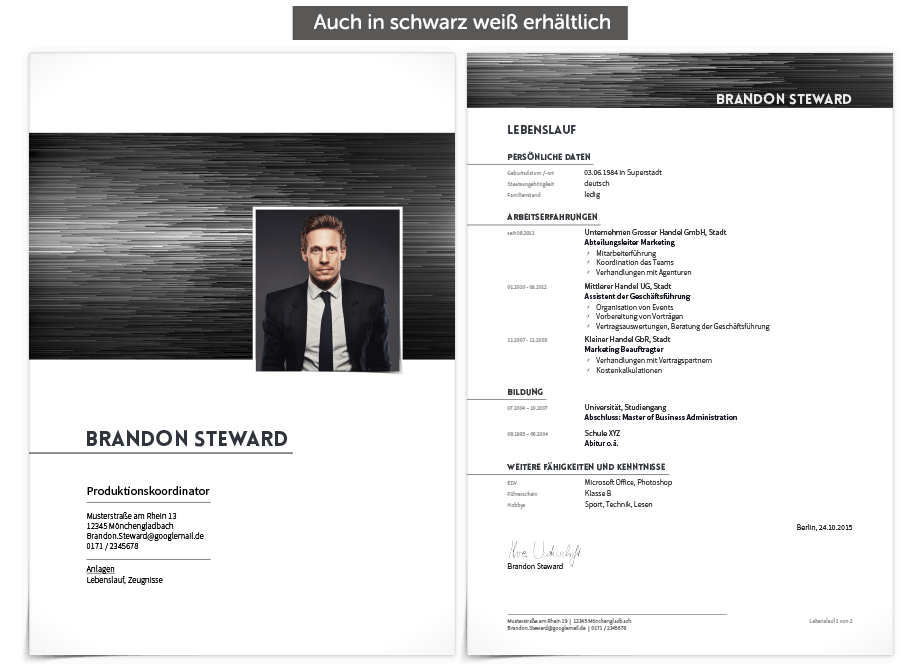 Bewerbungsdesign Brand Manager Deckblatt Und Lebenslauf Bewerbung Design Bewerbungsdesign Bewerbung Layout