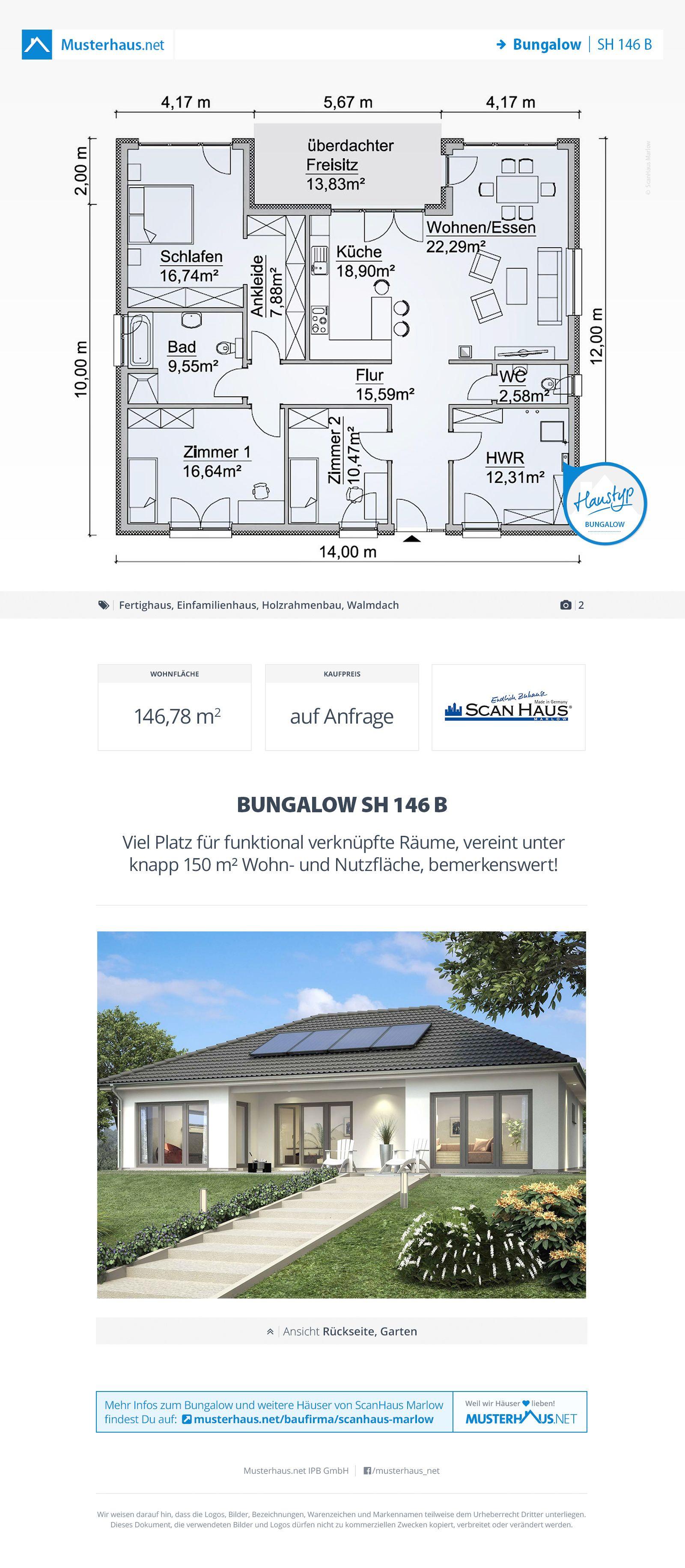 Musterhaus bungalow grundriss  Bungalow Grundriss, 146,78 m², offene Küche, Walmdach | Bungalow ...