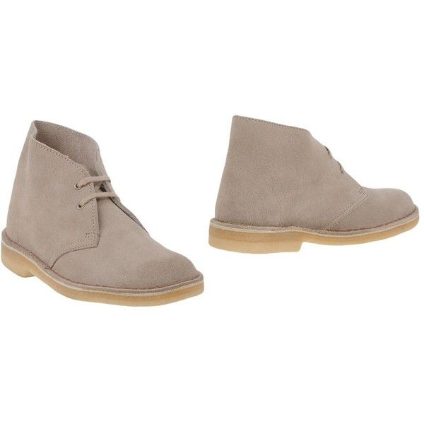 Clarks Originals Ankle Boots ($138) ❤ liked on Polyvore featuring shoes, boots, ankle booties, beige, beige booties, bootie boots, high top boots, beige ankle booties and beige leather boots