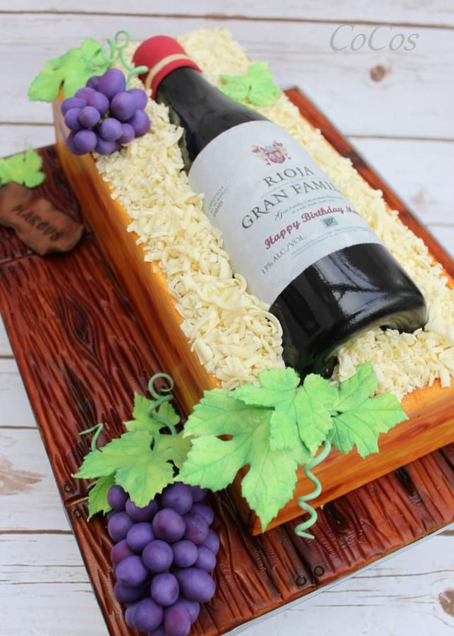 Sugar Wine Bottle And Box Cake By Lynette Brandl Cakes