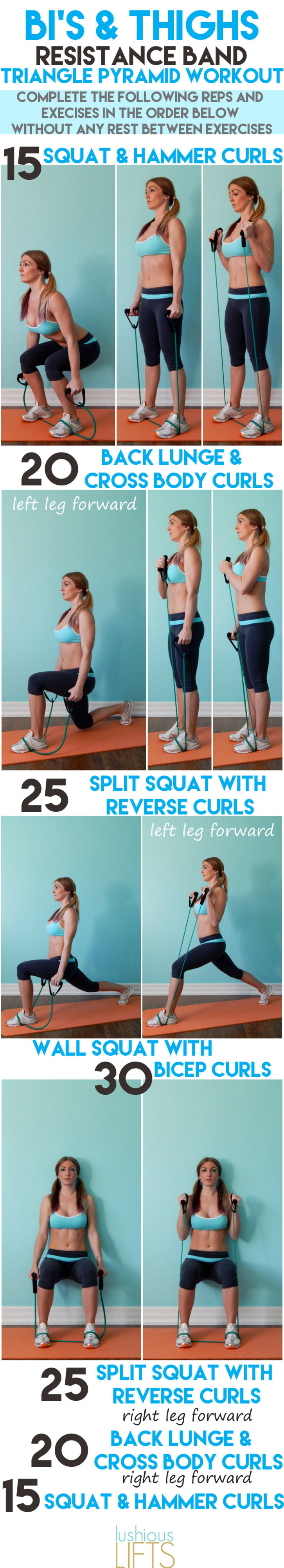 Bi's and Thighs Resistance Band Triangle Pyramid Workout || lushiouslifts.com