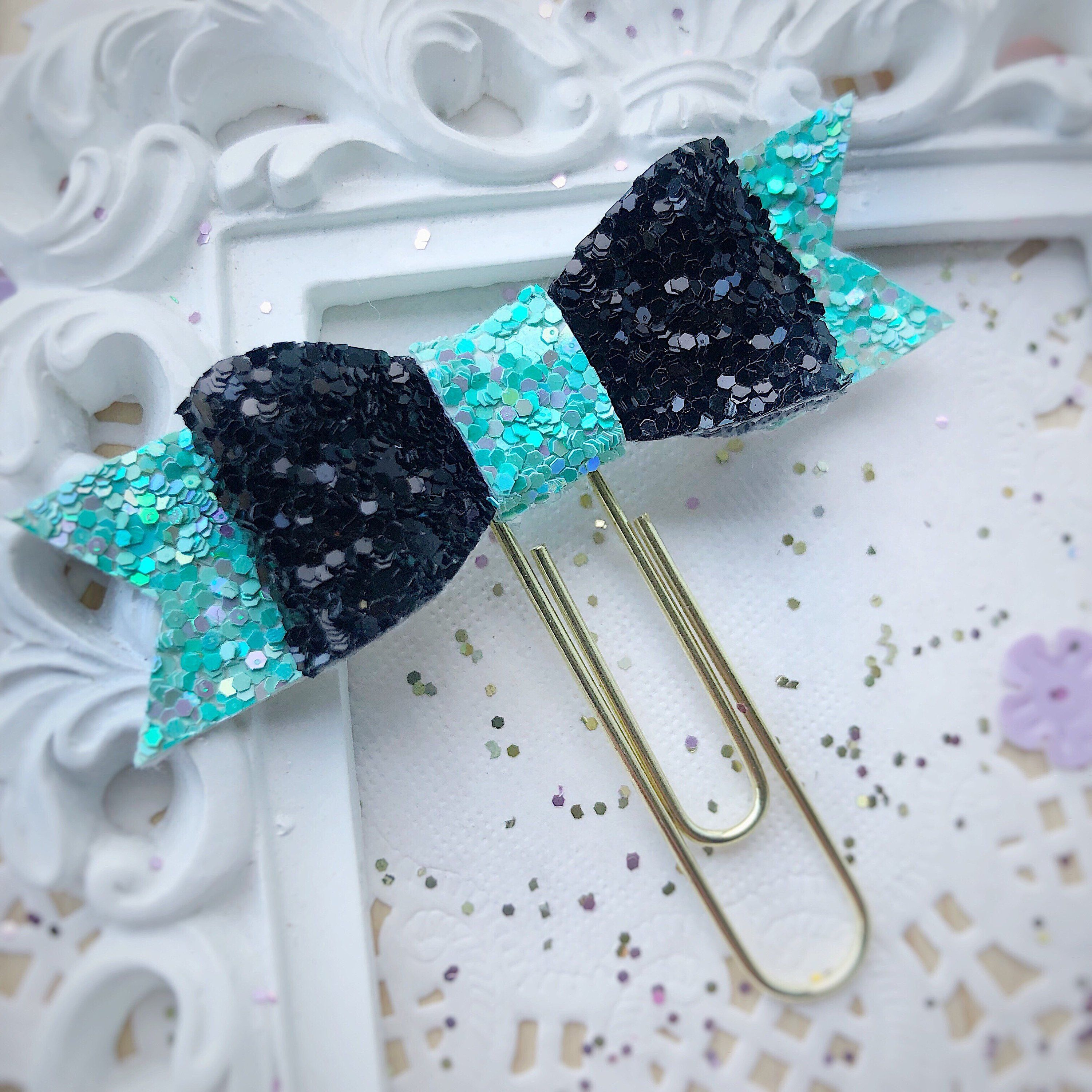 Bow paper clip stationery accessories glitter planner
