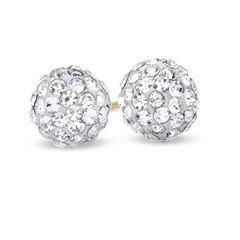 7.5mm White Crystal Ball Stud Earrings in 10K Gold - PAGODA.COM