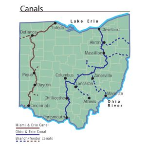 Rivers In Ohio Map.Lakes Rivers And Canals Ohio History Central Ohio History