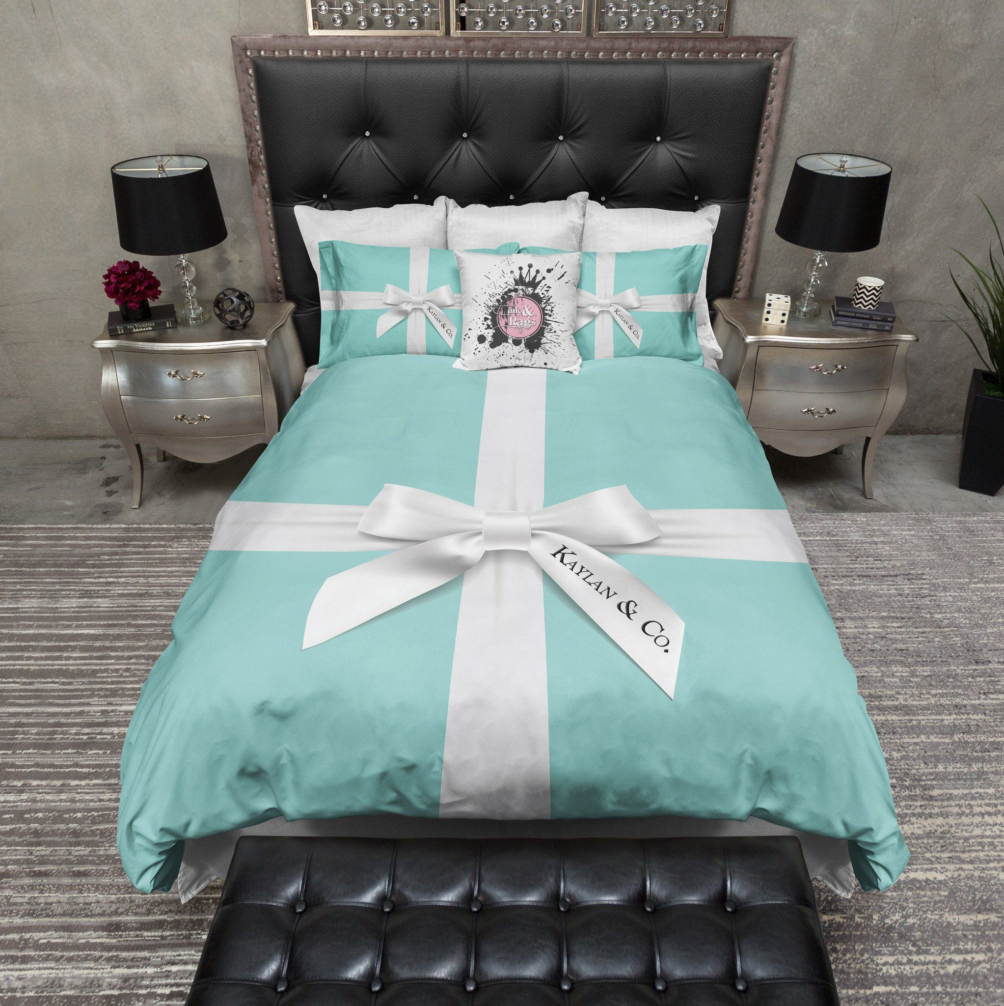 Name Amp Co Personalized Fashion Bedding Tiffany Blue