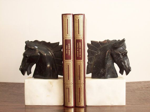 Vintage marble stallion bookends