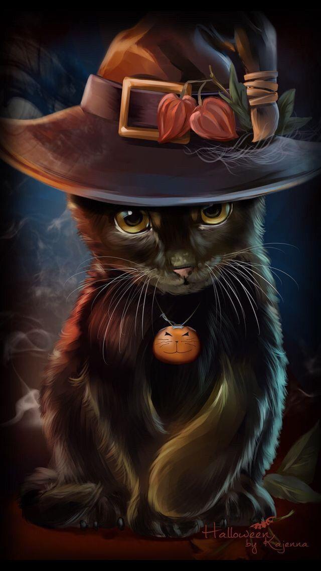 Wallpaper Iphone Cute Boo Halloween Cat Art Halloween Art