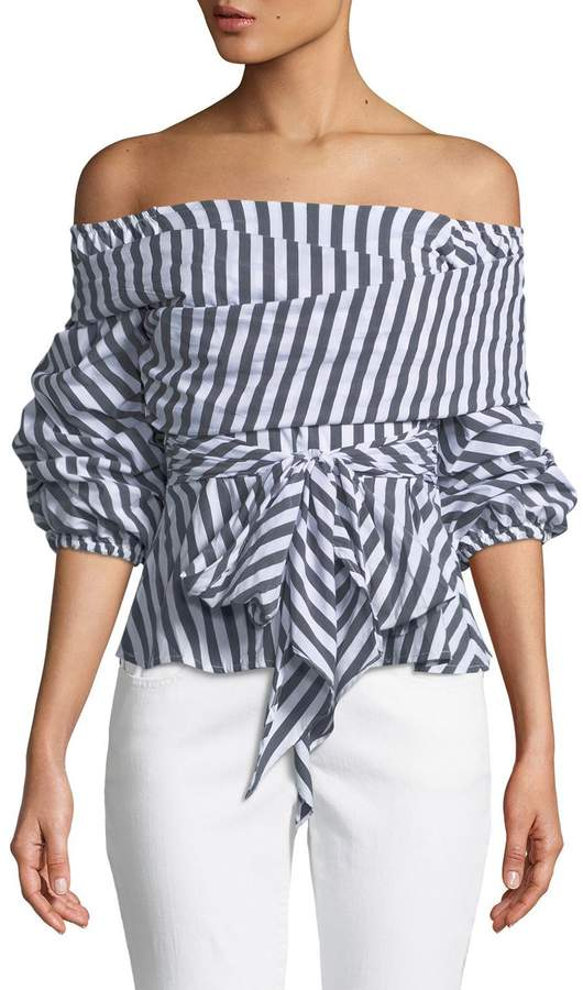 40258a9e18e Haute Rogue Striped Off-the-Shoulder Tie-Front Top | Shirts ...