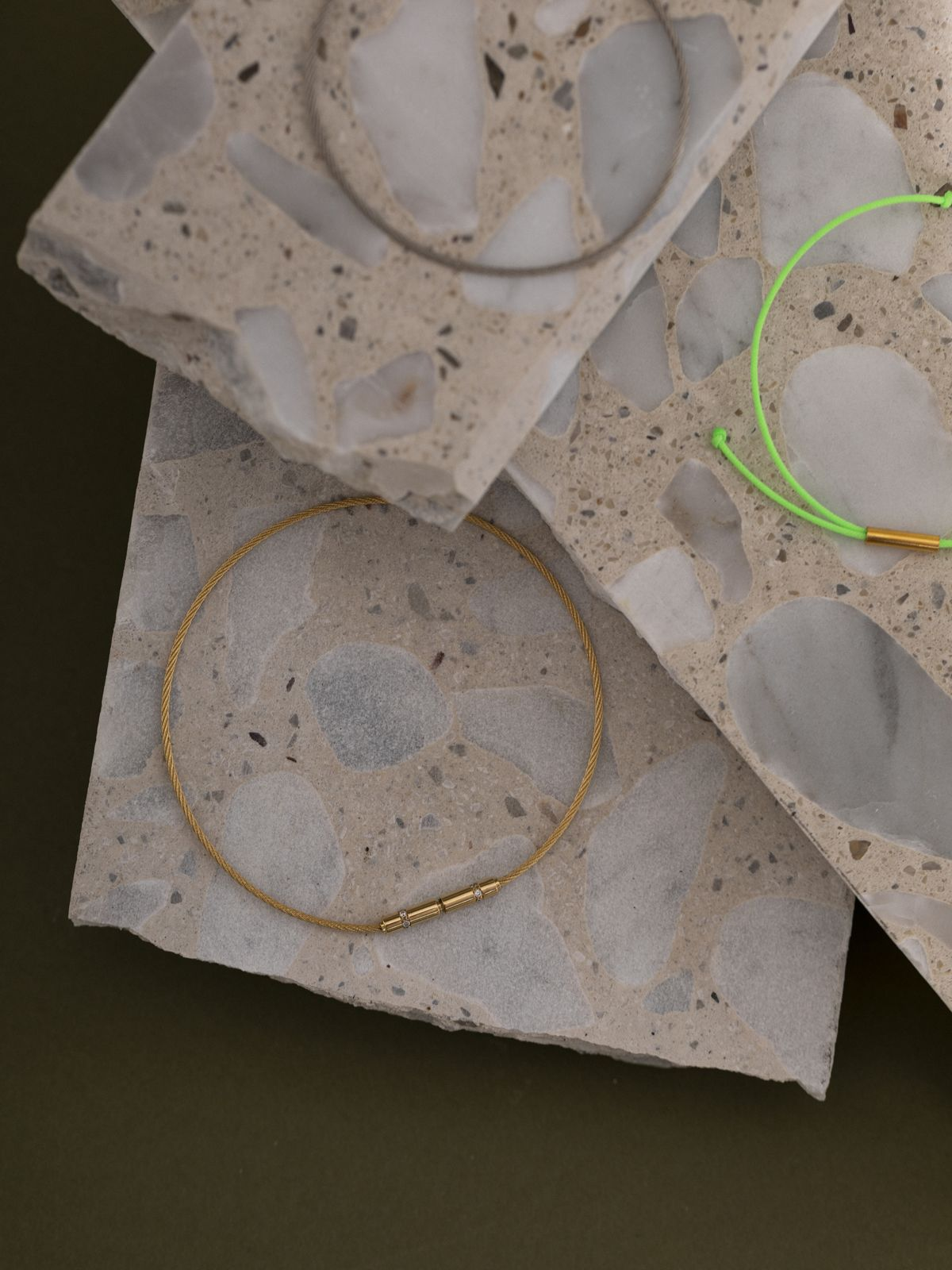 _ Baumwoll-Nylon-Faden _ Sterling Silber oder Sterling Silber 18kt vergoldet _ größenverstellbar _ hand made in Germany