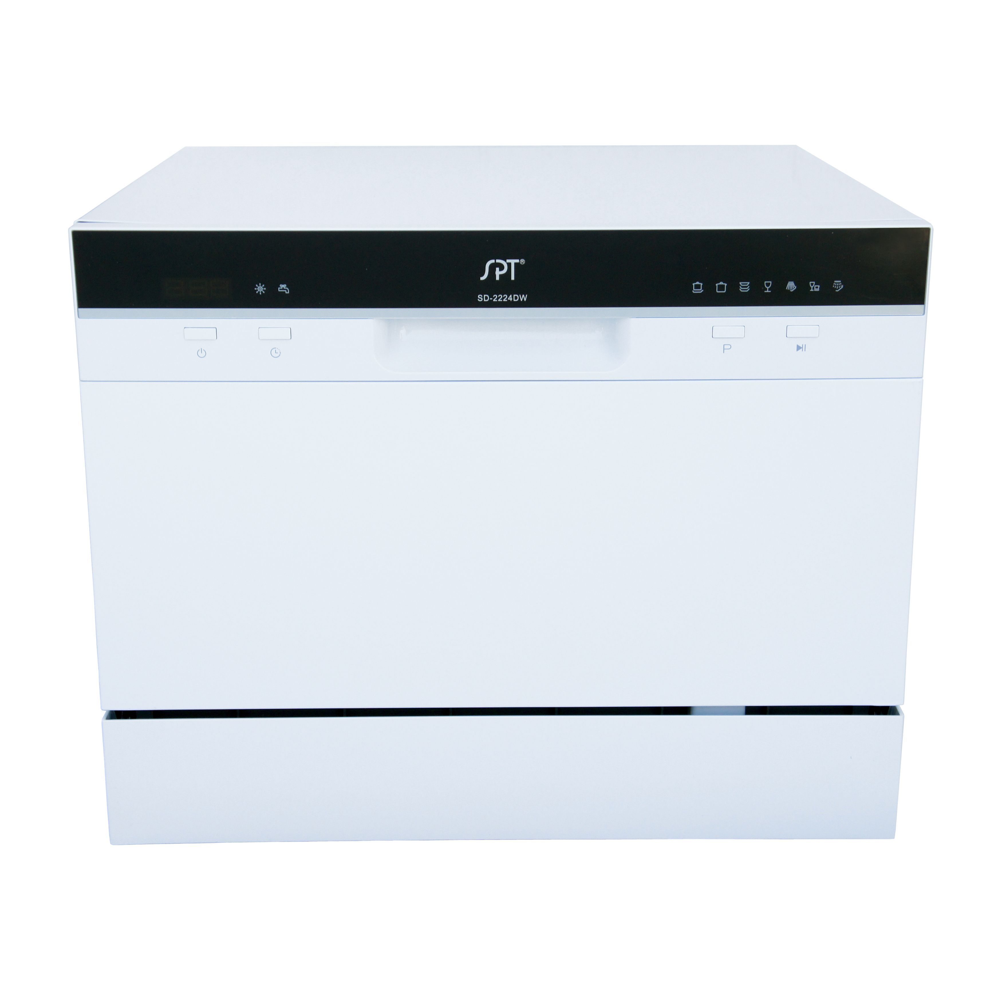 Spt 6 Place Setting White Countertop Dishwasher With Delay Start Countertop Dishwasher White Countertops Countertops