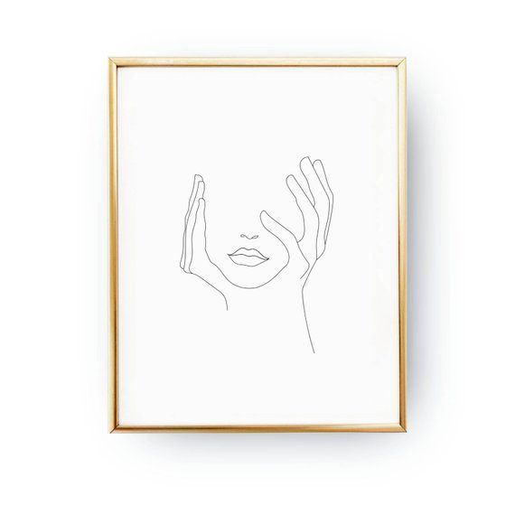 Photo of Hands on face, lips print, black and white, sketch art, line drawing print, minimalist woman print, minimal art, simple fashion, woman art