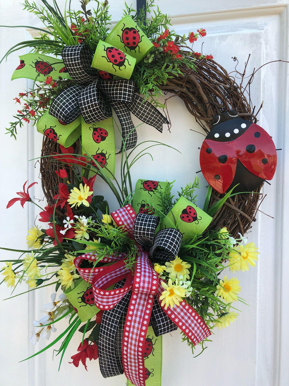 SunflowerWreath, Lady Bug Wreath, Farmhouse Decor,Country