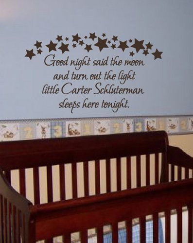 Baby Name Quotes Custom Quote Goodnight Nursery Wall Decal