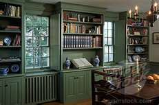 Colonial Dining Room With Green Built In Bookcases And Cabinets Colonial Dining Room Built In Bookcase Bookcase