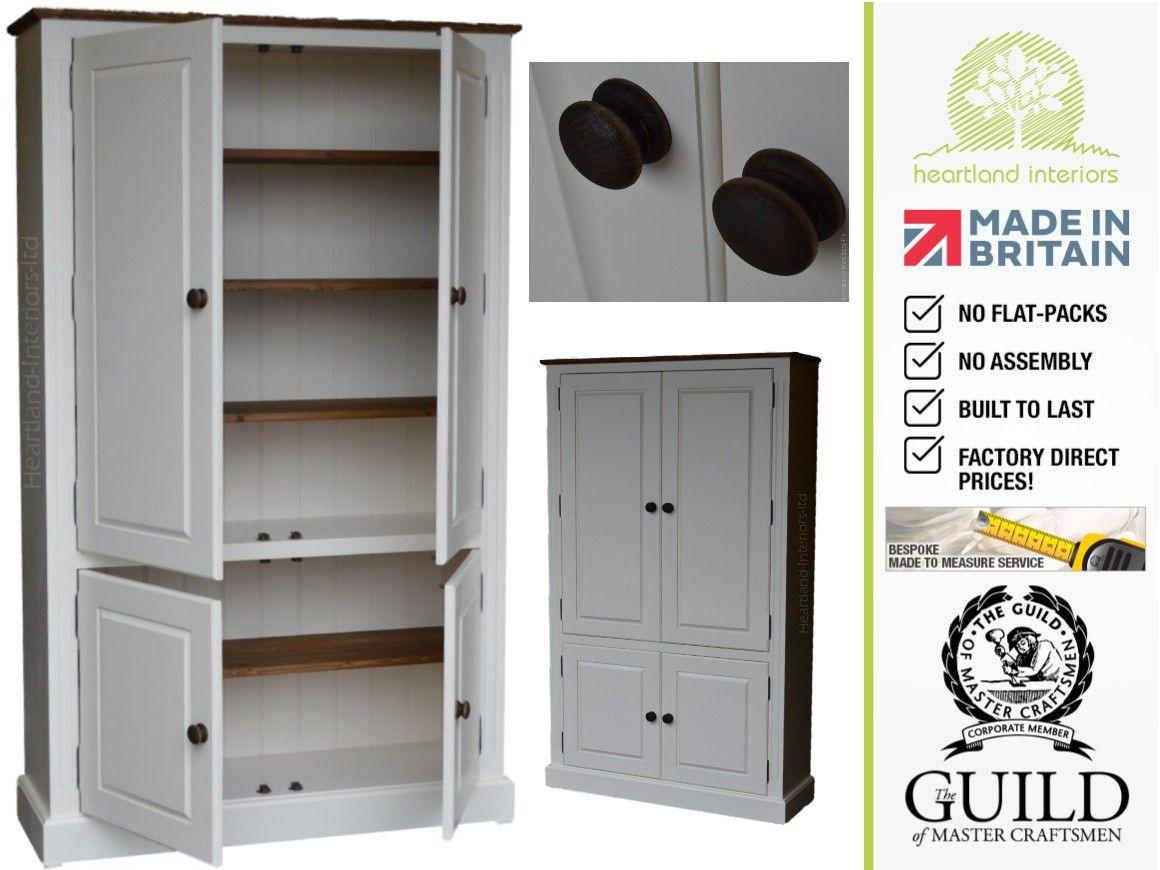 Traditional Painted 4 Door Pantry Linen Hallway Kitchen Storage Cupboard