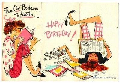 Resultado de imagem para postcards happy birthday  with books vintage