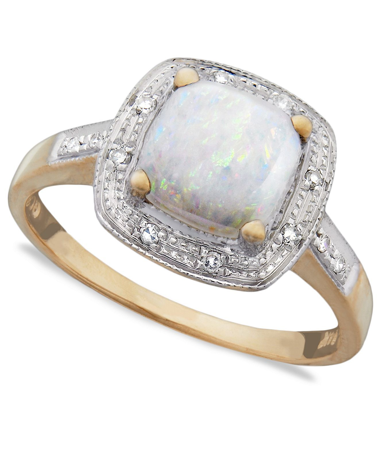 10k Gold Ring, Opal and Diamond Accent