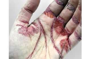 "Eliza Bennett Sews A Sculpture Into Her Skin - ""A Woman's Work is Never Done""."