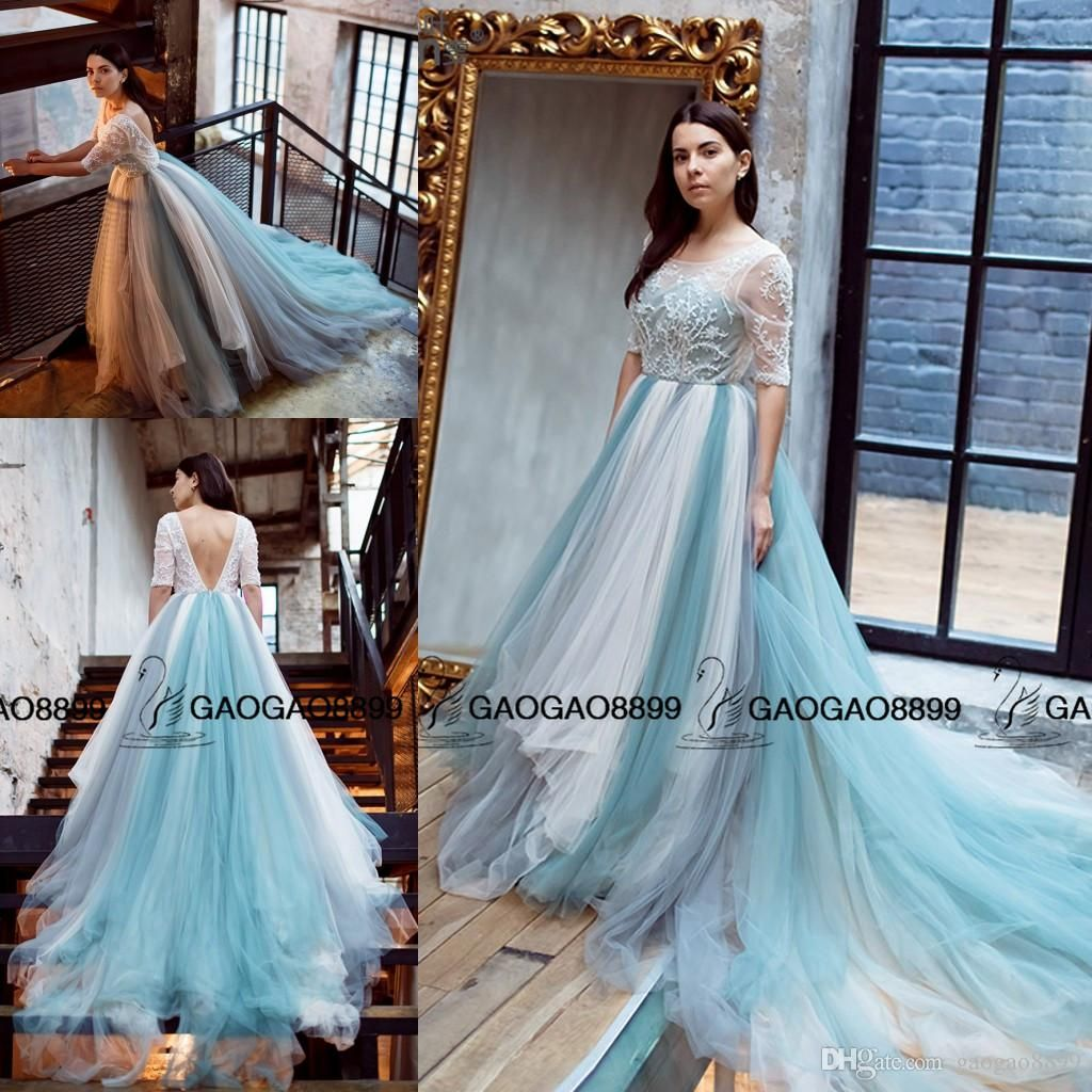 Beach Colorful Long Sleeves A Line Backless Crystal Wedding Dresses ...
