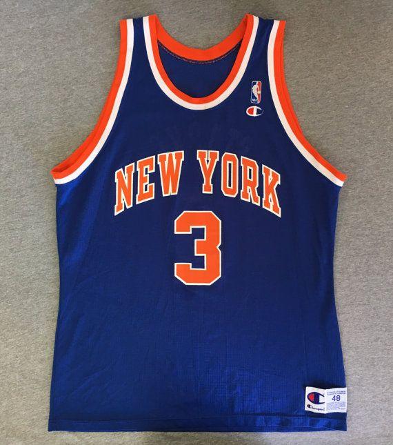 748526313 ... JOHN STARKS Jersey 90s Vintage NY Knicks New York Champion Basketball  NbA 3 Shirt Nylon UsA ...