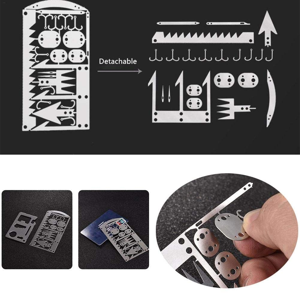 Camping Survival MultiTool Card Wilderness Survival Gear Kit for Hiking