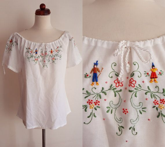Vintage Peasant Blouse  1970's Embroidered by PaperdollVintageShop