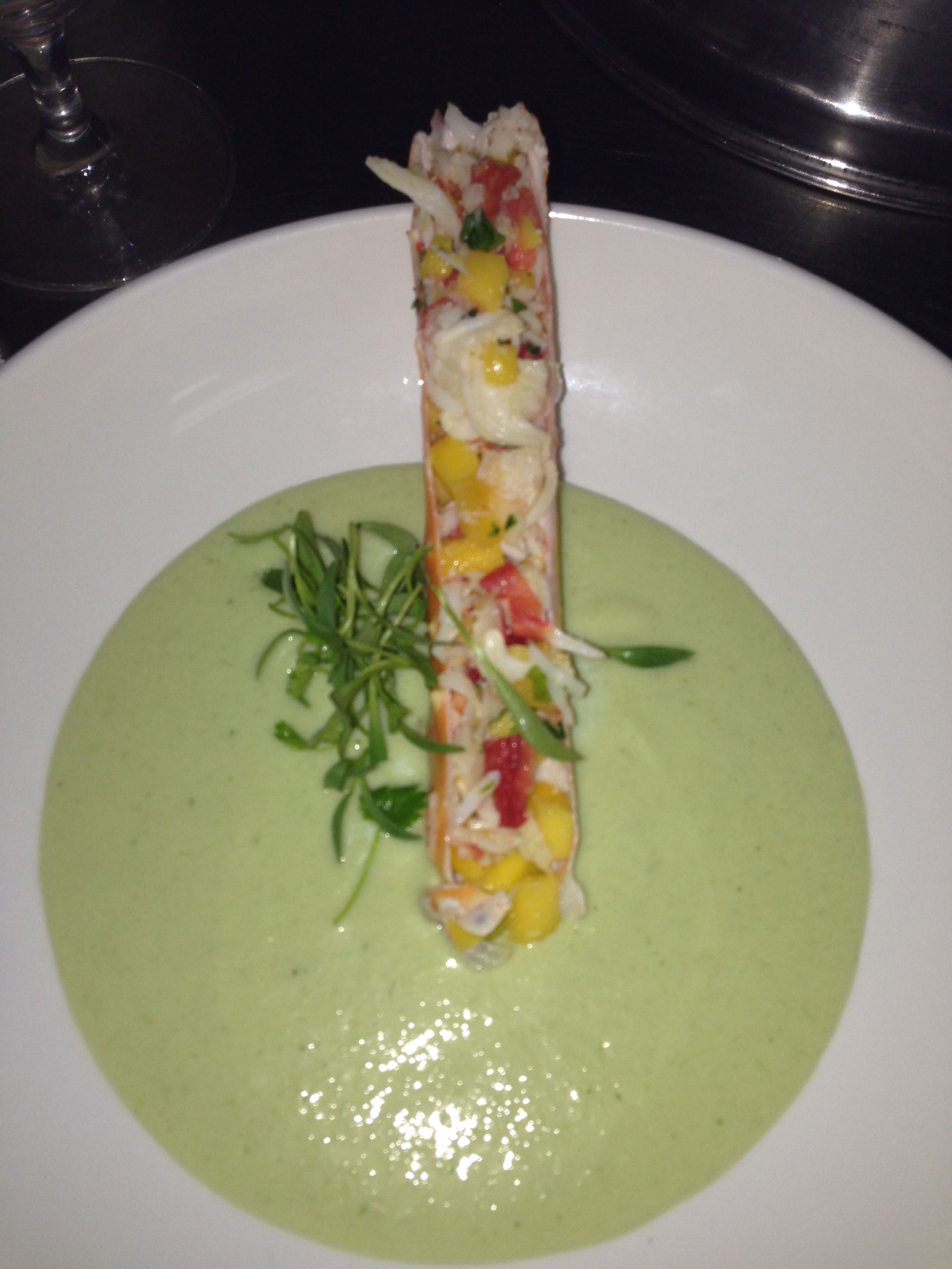 Chilled pea soup , achiote crab salad